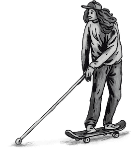 Drawing teenage skater with stick